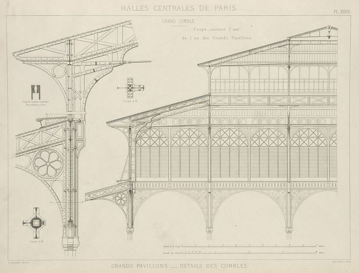Construction drawings for Baltard's Halles Centrales, Paris