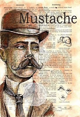 """Mustache"" Mixed Media Drawing on Distressed, Dictionary Page - available for purchase at www.Etsy.com/shop/flyingshoes - flying shoes art studio"