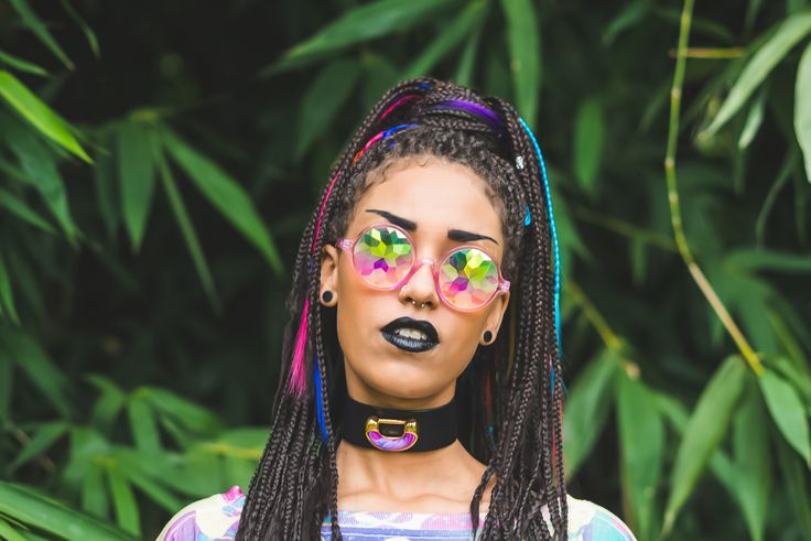 """DISORT your vision in a magical way with these BRAND SPANKING """"Pink Kaleidoscope Biggie Shades""""! These bad boys are EXCLUSIVE to Tibbs & BONES so best ya snap em up to be first to have them on your face!"""