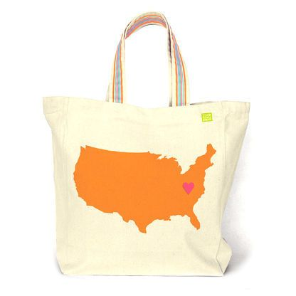 Show your local and state pride with this roomy, brightly colored tote bag. Pin the heart where you love the best.