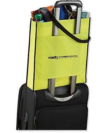 Convention Tote prevents shoulder strain. Trade show giveaways
