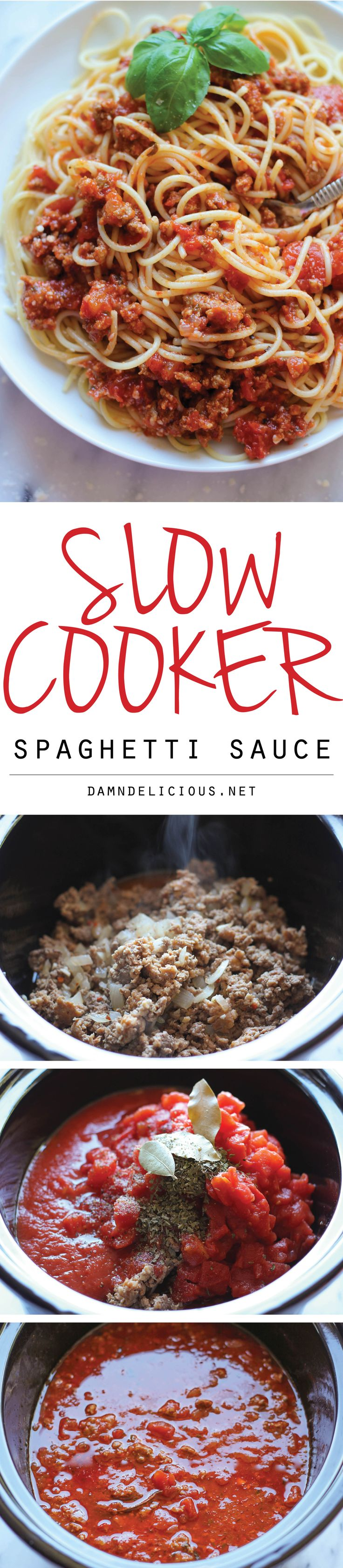Slow Cooker Spaghetti Sauce - A rich and meaty spaghetti sauce easily made in the crockpot with just 10 min prep!