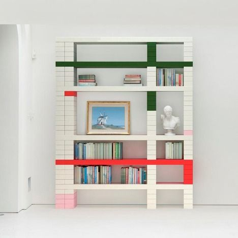 Andy Martin's 'undergraduate' shelving (reinvention of classic college bricks/boards)
