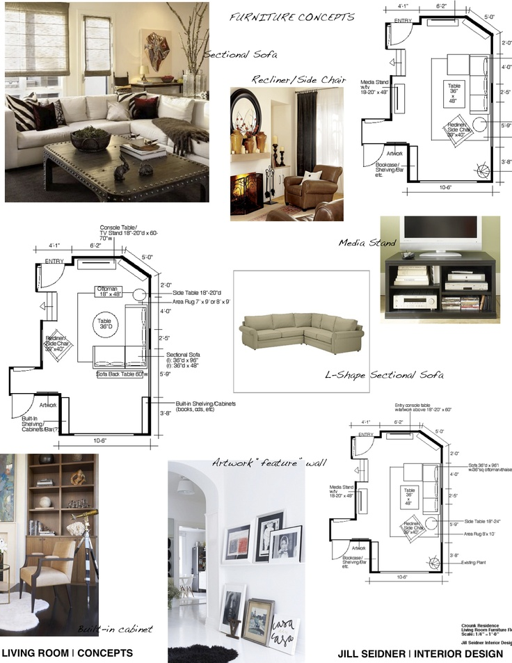 Concept Board And Furniture Layouts For A Living Room Jill Seidner Interior Design Concept
