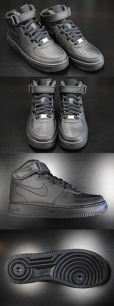 Children boys clothing shoes and accessories: [314195 004] KID S GS NEW NIKE AIR FORCE 1 MID ALL BLACK GRADE SCHOOL YOUTH BK1 BUY IT NOW ONLY: $75.0 #ustylefashionChildrenboysclothingshoesandaccessories OR #ustylefashion