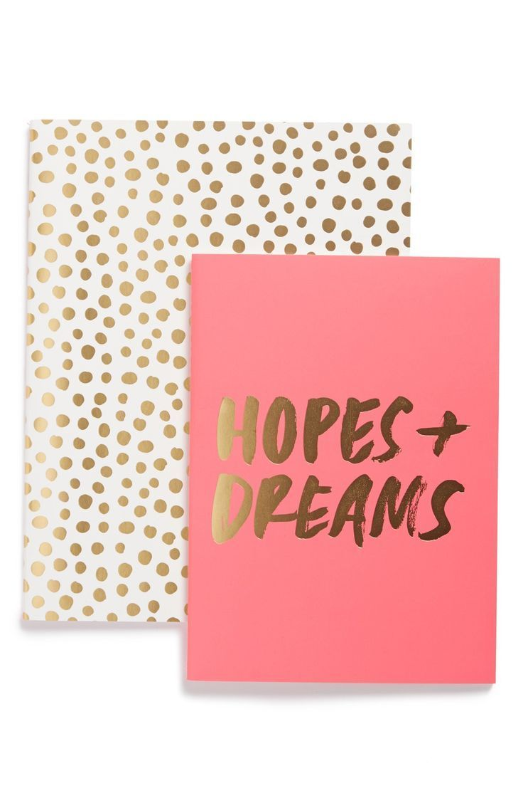 this cute duo of pink and gold lined notebooks provide the perfect