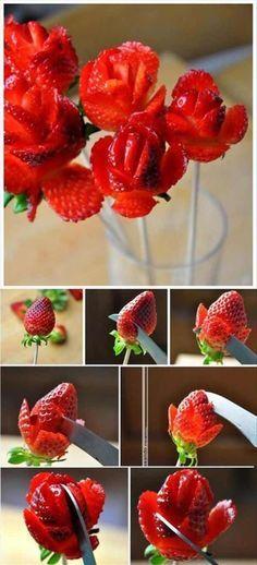 faire une rose avec une fraise.... MIAM !!!!!