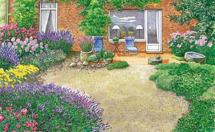 Ein in die Jahre gekommener Garten wird in eine Blüten-Oase verwandelt. Wir haben für Sie zwei Gestaltungsideen mit Pflanzplänen zum Herunterladen und Nachpflanzen.