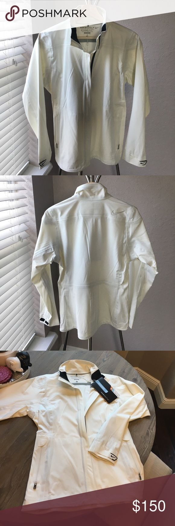 Nike Waterproof Golf Jacket White, small, waterproof, golf jacket. Storm-Fit Elite. 2 zipper pockets and Velcro sleeve fasteners. Will make an awesome Christmas present! Nike Jackets & Coats