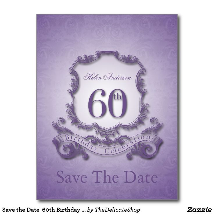 save the date 60th birthday postcard