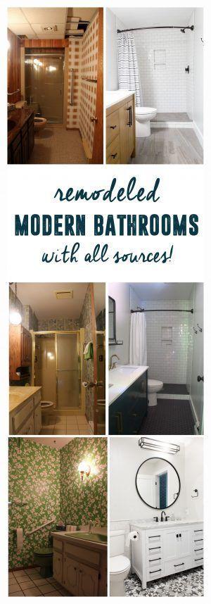 Remodeled Modern Bathrooms, Renovated Bathrooms, Modern Bathroom, Neutral Modern Bathrooms www.BrightGreenDoor.com