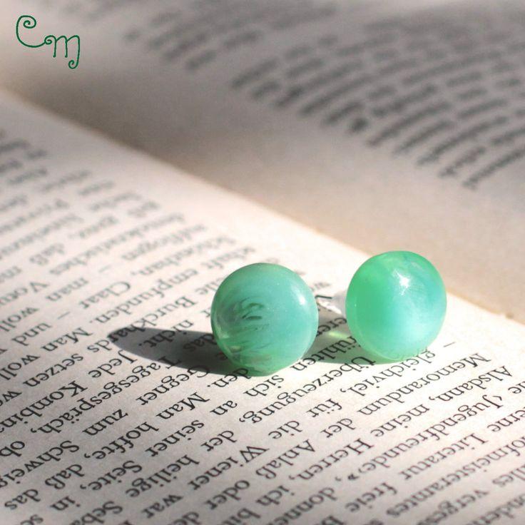 Orecchini con bottone vintage verde - O.38.2015, by Le coucou magnifique, 6,00 € su misshobby.com