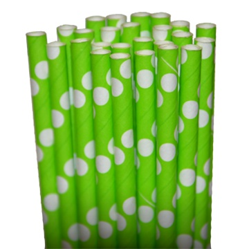 Dot Lime/White Paper Party Straws - $3.75 per 25 pack
