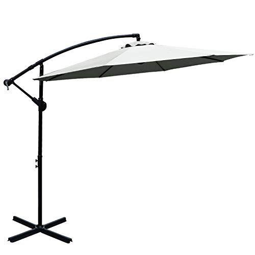 Abccanopy 10 Ft Hanging Umbrella Cantilever Umbrella Offset Patio Umbrella Outdoor Market Umbrella Easy Open Lift 360 Degree Rotation Light Beige 1 Best Ou
