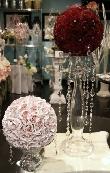 roses wedding centerpiece with hanging crystals | (kissing) ball centerpiece, need ideas!! : wedding antique rose ...