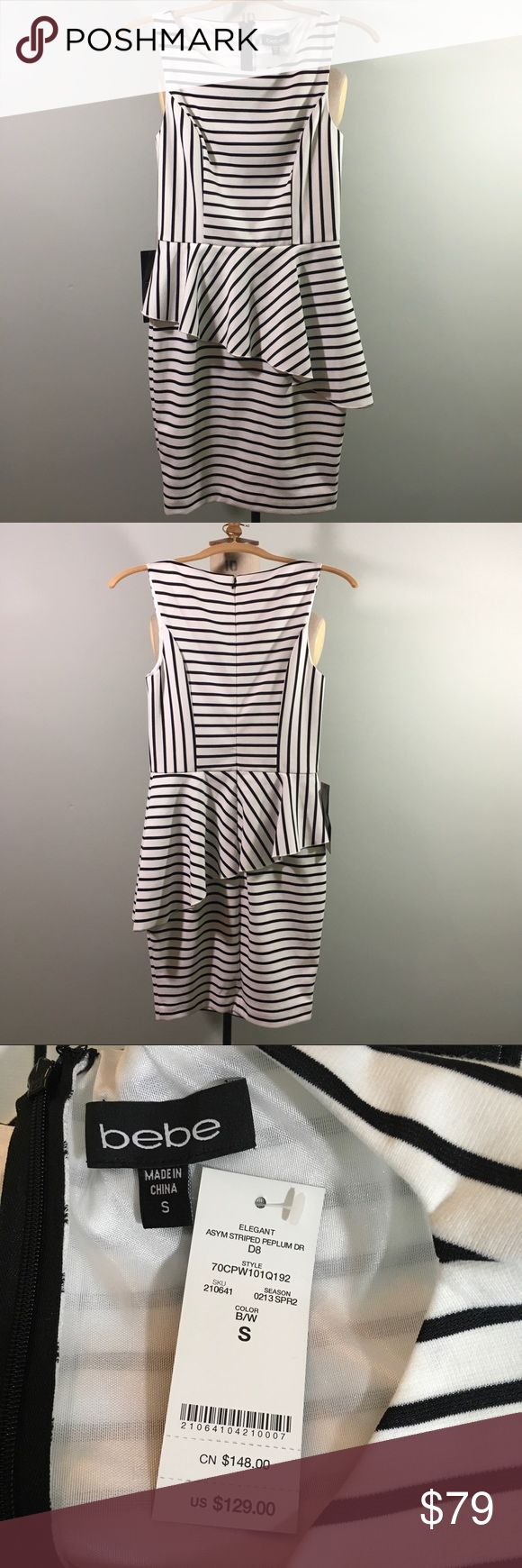 """bebe // Striped Asymmetrical Peplum Dress // B & W Classy striped dress with asymmetrical peplum. New with tags, never worn, excellent condition. White with black stripes. Retail Value: $129.00  Polyester/Spandex. Size Small. Approximate Measurements: Bust 32"""" Waist 6"""" Hips 36"""" Length 34""""  Tags: Wear to Work or Church, Sophisticated, Elegant, NWT  ✅Bundle discounts ✅ Will consider reasonable offers 🚫No trades ✉️Please let me know if you have questions, I'm happy to answer  📷 Check out my…"""