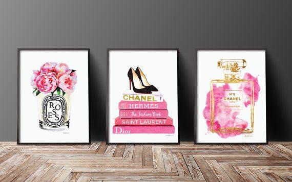 Satz von 3 Mode Poster Chanel Diptyque Christian von hellomrmoon