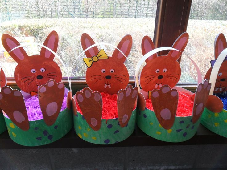 510 best knutselen kinderen lente images on pinterest crafts for easter bunny basket craft idea for kids negle