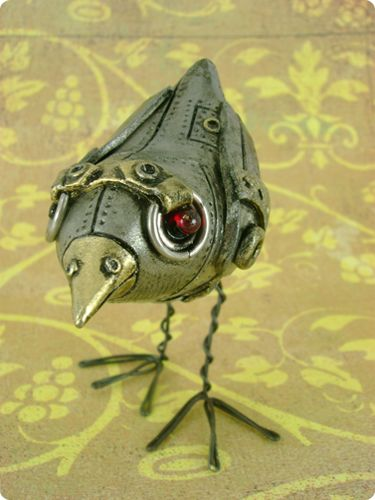 """This is Bertram, and he is my little birdie. He can't fly or talk, but he can hop along on his slender wire legs. Bertram is German - his name means """"bright raven"""", and rightfully so. He certa..."""