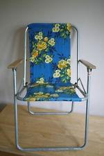 Vintage 70s folding garden chair - blue retro floral pattern - camping festival