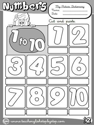 Números (1 a 10) - Dicionário de imagens (versão B & W)