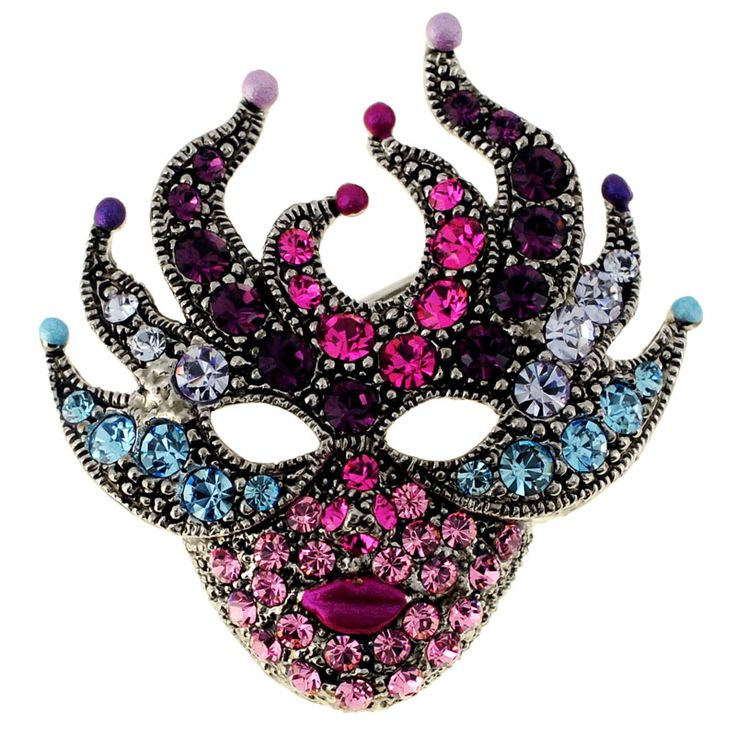 This quirky pin brooch features a mysterious mask design made of round-cut crystals. This brooch features an antique finish and secures with a pin clasp.