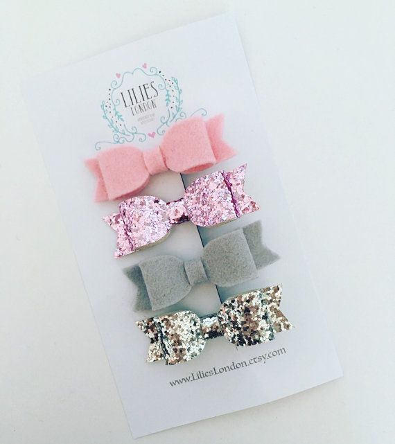 Sparkly hair bows. Set of 4 grey and pink wool by LiliesLondon
