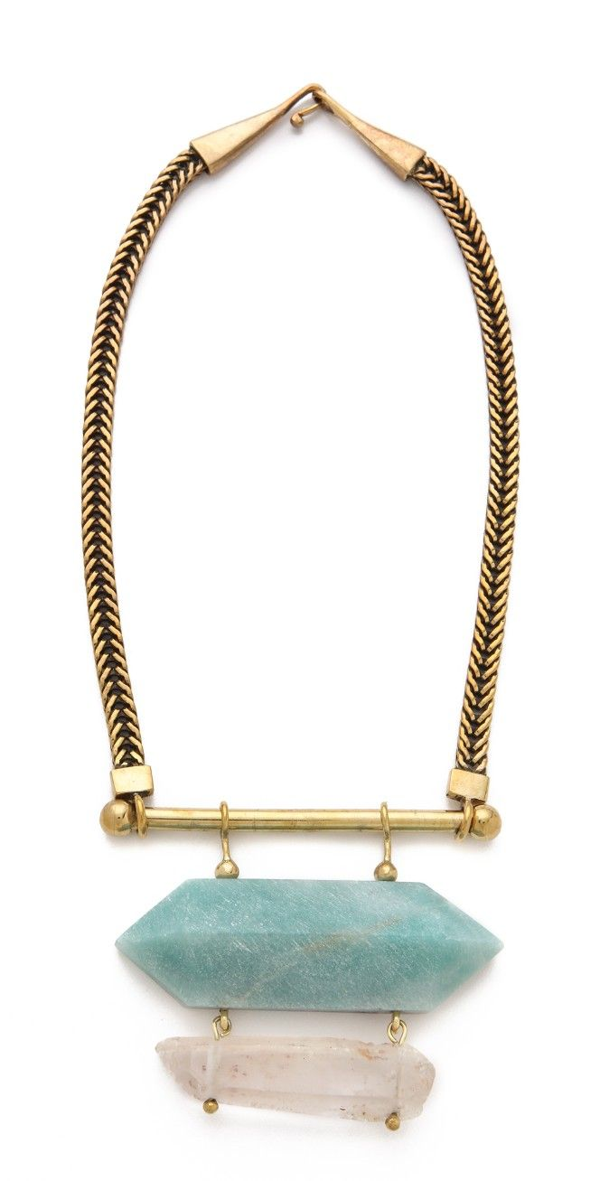 Mania Mania Fillmore West Neckpiece | The polished herringbone chain of this necklace contrasts the scratched, matte amazonite and quartz stones suspended from the bar pendant. Hook-and-eye clasp