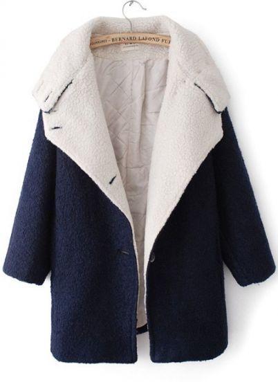 Navy Lapel Batwing Long Sleeve Woolen Coat - Sheinside.com Mobile Site