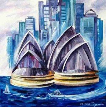 ORIGINAL AUSTRALIA ART PAINTING ARTWORK ARTIST SIGNED  Artist: Dyumin, Yelena  Artwork title: Sydney Harbour II  Price: $270