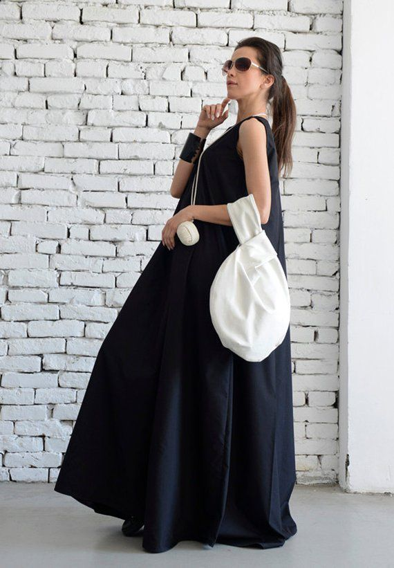 3199abff9db7 Plus Size Maxi Dress/Loose Kaftan/Casual Sleeveless Dress/Front ...
