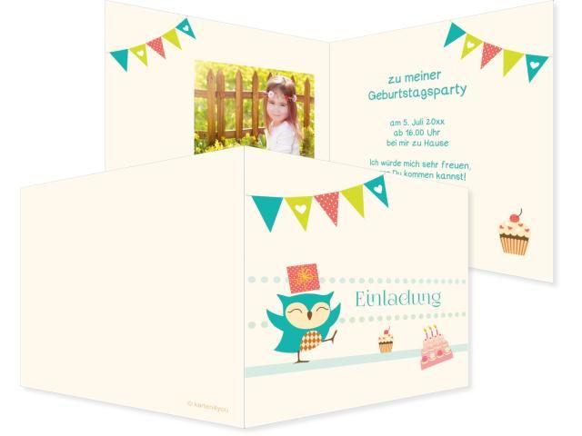 Eulengeburtstag Klappkarte links 4-seitig 210x100mm bunt, Geburtstag, Einladungskarten, Geburtstagskarten, Kindergeburtstag, Kids, Birthday,  Party, Birthdayparty