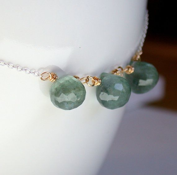 Moss Aquamarine Necklace. Birthstone Necklace. March Birthstone Necklace. Gemstone Necklace. Birthstone Necklace.