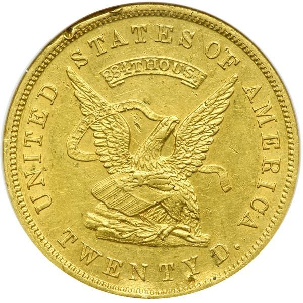 """1853 $20 United States Assay Office of Gold San Francisco. ANACS AU50 884 Thous. Damaged. Well struck with residual luster around the legends and within devices. It is never common to find a Territorial coin struck with exactitude by the dies. This is such a coin. According to the Dr. Donald Kagin reference on this private California gold rush issue, """"While the government's response to the need for an adequate coinage was slow and never satisfactory, two institutions were established (the…"""