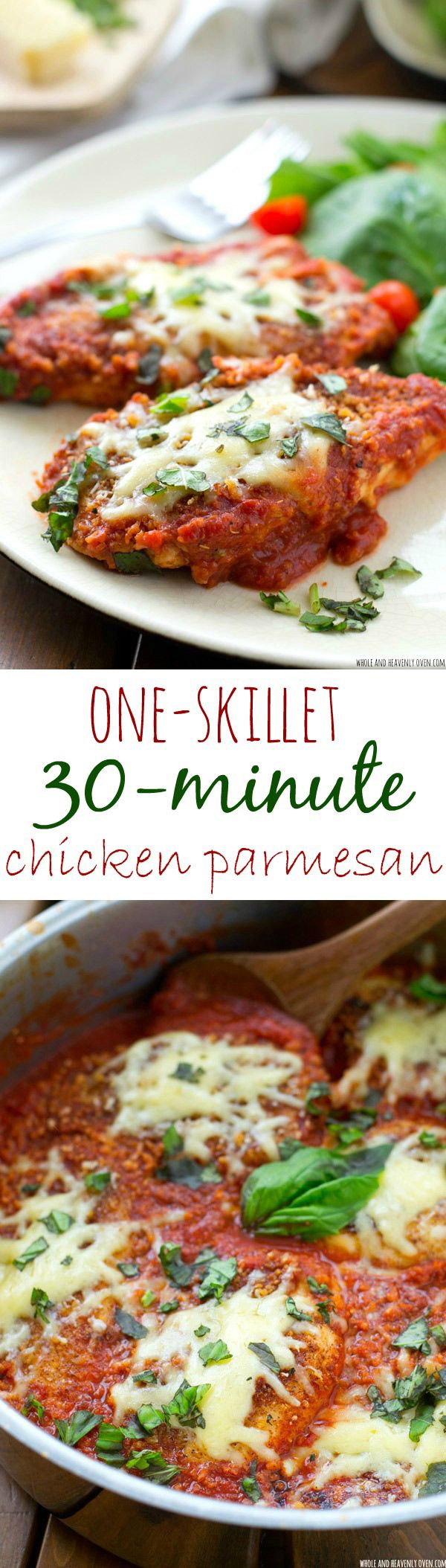 30 minutes and one big 'ol skillet is all you'll need to make this comforting chicken parmesan that goes perfectly with hot pasta---Your family will request this chicken to be on the dinner menu again and again!