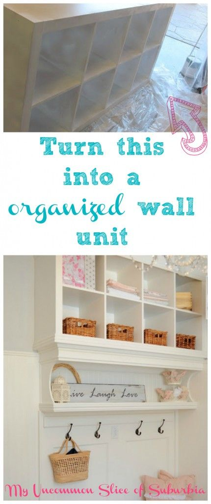 Turn 2 bookshelves into a organized wall unit. Step by Step Tutorial with pictures!