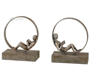 Grace Feyock Lounging Reader Traditional Bookends