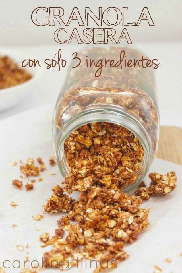 Aprende a hacer una deliciosa, nutritiva y saludable Granola Casera con tan sólo 3 Ingredientes. A mis niños les encanta para el desayuno y con ella reemplazamos los cereales cargados de azúcar que consumían en la mañana. También es una merienda súper sana para combinar con frutas o yogurt. Receta completa en el Blog.