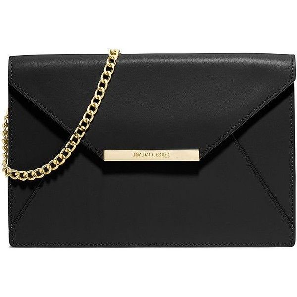 MICHAEL MICHAEL KORS Lana Leather Envelope Shoulder Clutch found on Polyvore featuring bags, handbags, clutches, purses, apparel  accessories, black, chain purse, genuine leather handbags, genuine leather purse y leather handbags