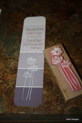 Paint chip, rubber stamp and ink and ribbon trim...what a neat idea for a bookmark.
