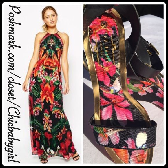 """✨HP✨TED BAKER TROPICAL FLORAL WEDGES Are you starting to pack your tropical vacation suitcase? I am! These are a 'MUST HAVE' Who's the king of tropical couture? Yes, it's Ted ! From the wrap-around ankle strap to gold-tone framed cushioned footbed these are pure perfection. Wedge sandal with adjustable wrap-around ankle strap features flower-pattern toe strap, foot bed and heel. Measurements; 3.75""""  Platform 1.25"""". These chic wedges can be still found for sale at $155 and up. ALSO size 6…"""