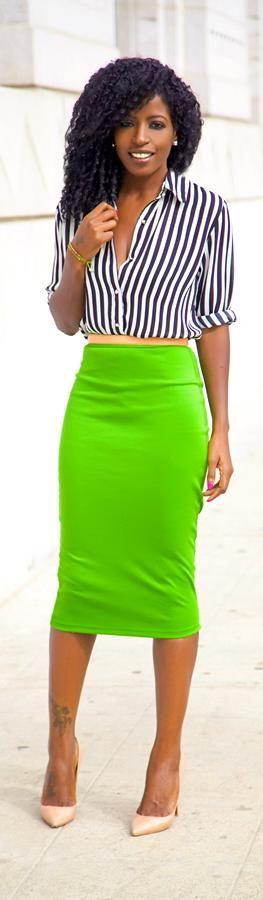 Striped Shirt + Pencil Skirt http://stylepantry.com/2013/11/21/structured-blazer-striped-shirt-pencil-skirt/