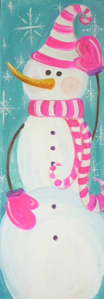 Snowman painting with pink & white striped hat, scarf, and mittens.