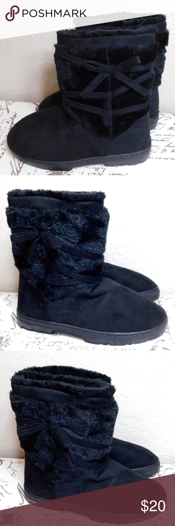 Gina Women's Microsuede Boots Size: 9-10 M Gina Women's Microsuede Boots are super-soft and have a faux-fur material that runs up the leg and into the boot, embellished  with a microsuede trim that wraps around the ankle and is sewn in place, and have durable outsoles These boots will keep your feet warm and toasty Material:  Upper - 60% Polyester, 40% Shearling Bottom - TPR + Fabric Condition: NEW- The item is brand new - unused Gina Shoes Ankle Boots & Booties