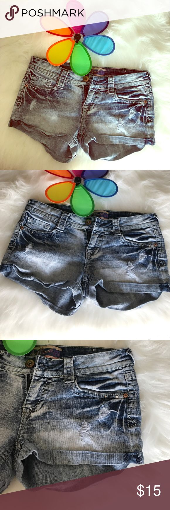 WallFlower Jean Shorts Factory distressed Jean Shorts Size 7 Pre owned no visible flaws Wallflower Shorts Jean Shorts