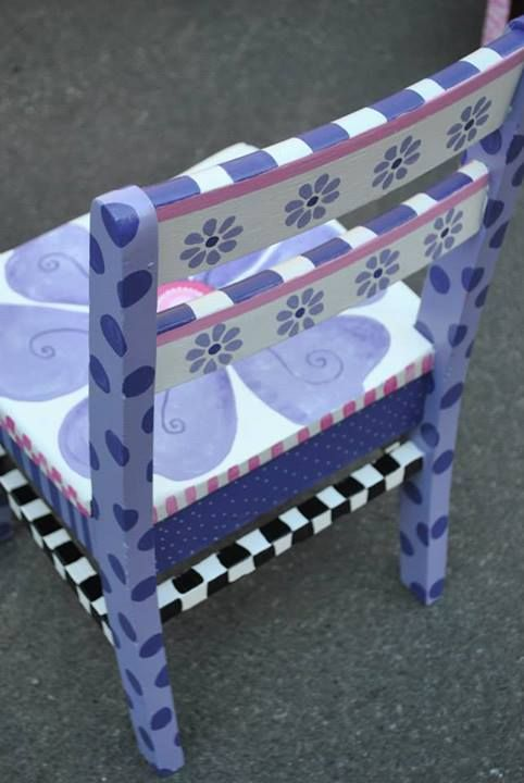 Chair--can find lots of cool furniture painting ideas on Pinterest, if ever I decide to do some painting!