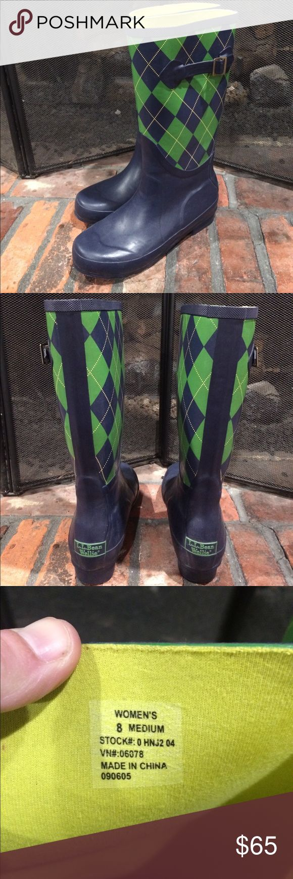 L.L. Bean women's Wellie rain boots size 8 L.L. Bean women's Wellie rain boots size 8.  Gorgeous navy blue, green and yellow argyle print boot.  Excellent condition L.L. Bean Shoes Winter & Rain Boots