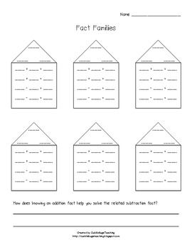 Fact Family Worksheet - Create your own/blank worksheet - great for the larger 2 digit numbers!