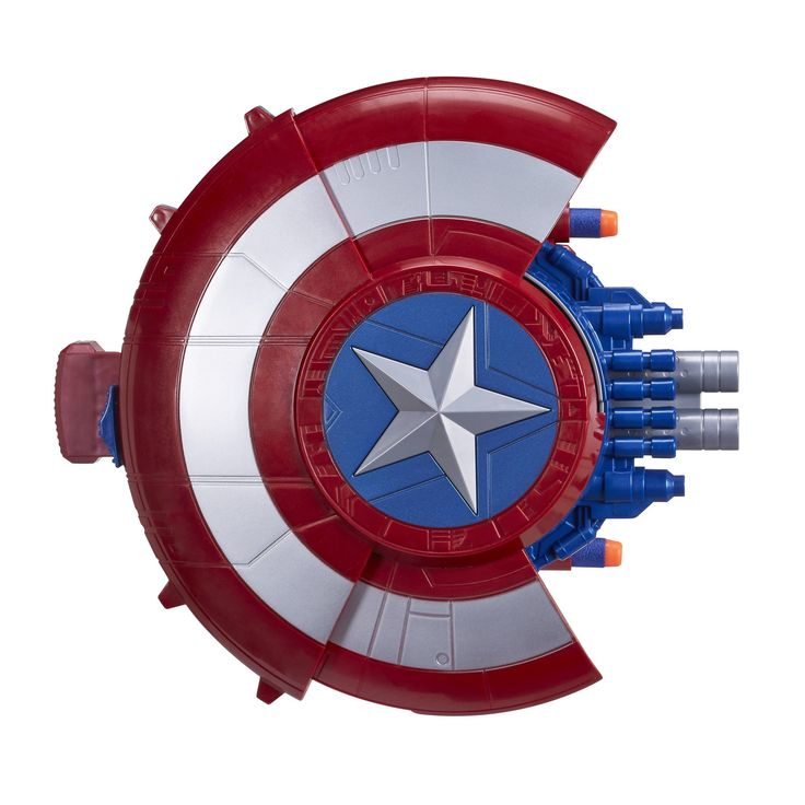 Marvel Captain America: Civil War Blaster Reveal Shield. Iconic Captain America shield design. Push star button to reveal blaster. Launch 2 NERF darts using blaster reveal feature. Includes Blaster Reveal Shield, 2 NERF darts, and instructions.