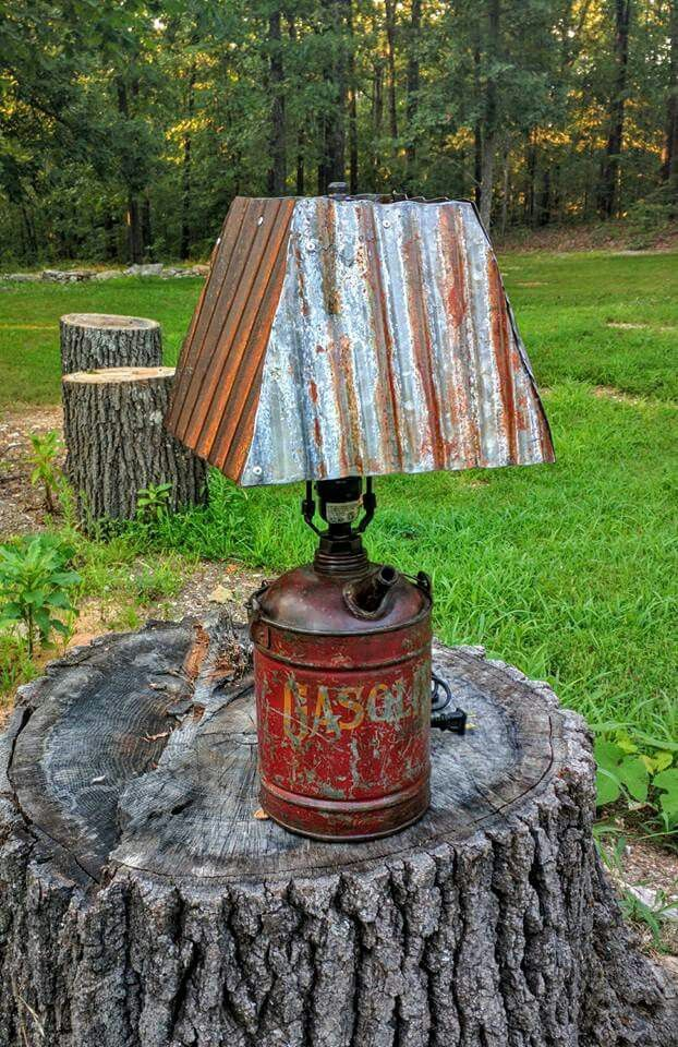 Lamp from vintage metal gas can and  corrugated metal.   https://m.facebook.com/TommyVaughnDesignsLLC/